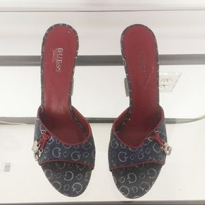 Guess Blue Red Wedge Sandals
